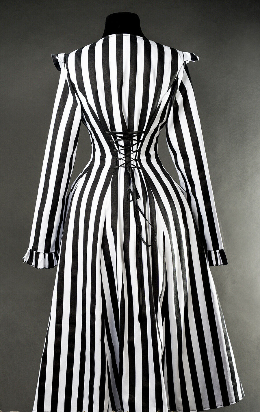 Black White Striped Victorian Gothic Corset Back Jacket Long Beetlejuice Coat