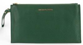 Michael Kors Bedford Verde Musgo Cuero Cierre Muñequera Bolso - $100.86