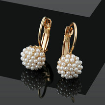 Fashion Jewelry Women Lady Elegant Pearl Beads Dangle Ear Stud EarringsF... - $10.65