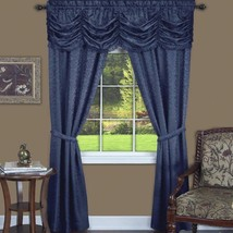 5 pc Window Set Solid Navy Blue Curtains Panels Drapes Pair Valance 84 6... - $34.55+