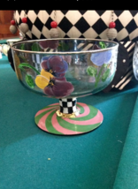 MacKenzie Childs Huge Compote Courtly Check Footed Candy Dish Serving Bowl - $148.50