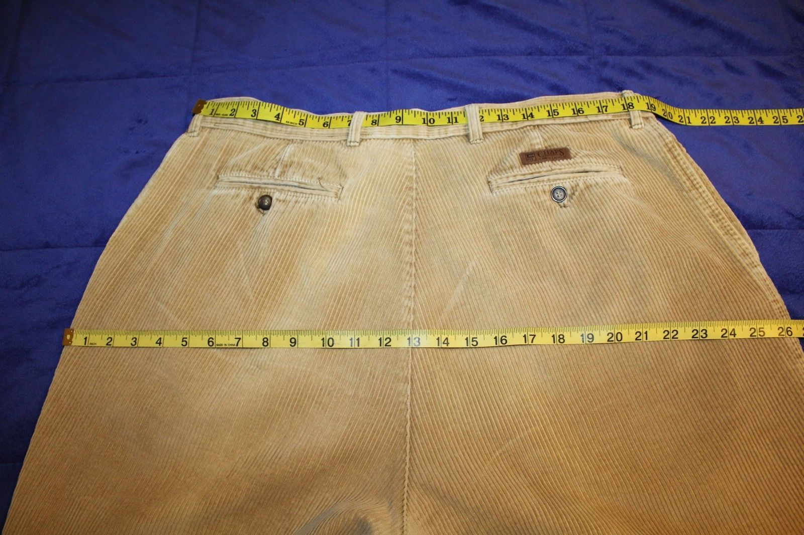 VINTAGE CHAPS by Ralph Lauren Men's 38 x 32 Tan Pleated & Cuffed Corduroy Pants