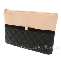 CHANEL Clutch Bag Lambskin Black Pink Beige Coco Bow A82474 Italy Authentic - $1,062.25