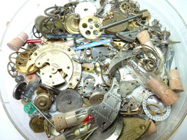 Illinois waltham tin full of mostly partial pocketwatch parts gears plat... - $124.81