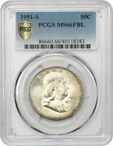 1951-S 50c PCGS MS66 FBL - Scarce Date with Full Bell Lines - $940.90