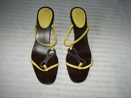 authentic Gucci yellow and brown slip on sandals kitten heel straps 8 1/2 B - $109.95
