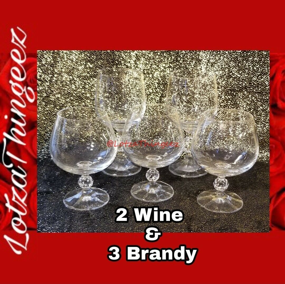 Import Association CLAUDIA 2 Wine & 3 Brandy Glasses 5pcs Disc. Clear Crystal