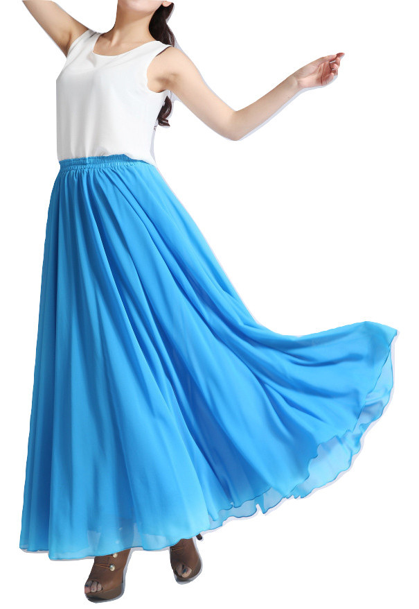 Women Long MAXI Chiffon Skirt AQUA-BLUE Chiffon Maxi Skirt Summer Wedding Skirt