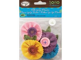 Genevieve Gail Boho Collection Felt YoYo Flowers, 4 Pieces #1556M