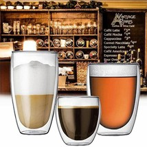Double Wall Glass Cups Coffee Mug Heat Resistant Cappuccino Beer Milk Te... - £8.53 GBP