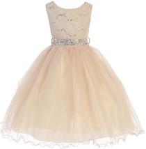 Flower Girl Dress Glitter Sequin Top & Rhinestone Sash Taupe JK 3670 - $47.52+