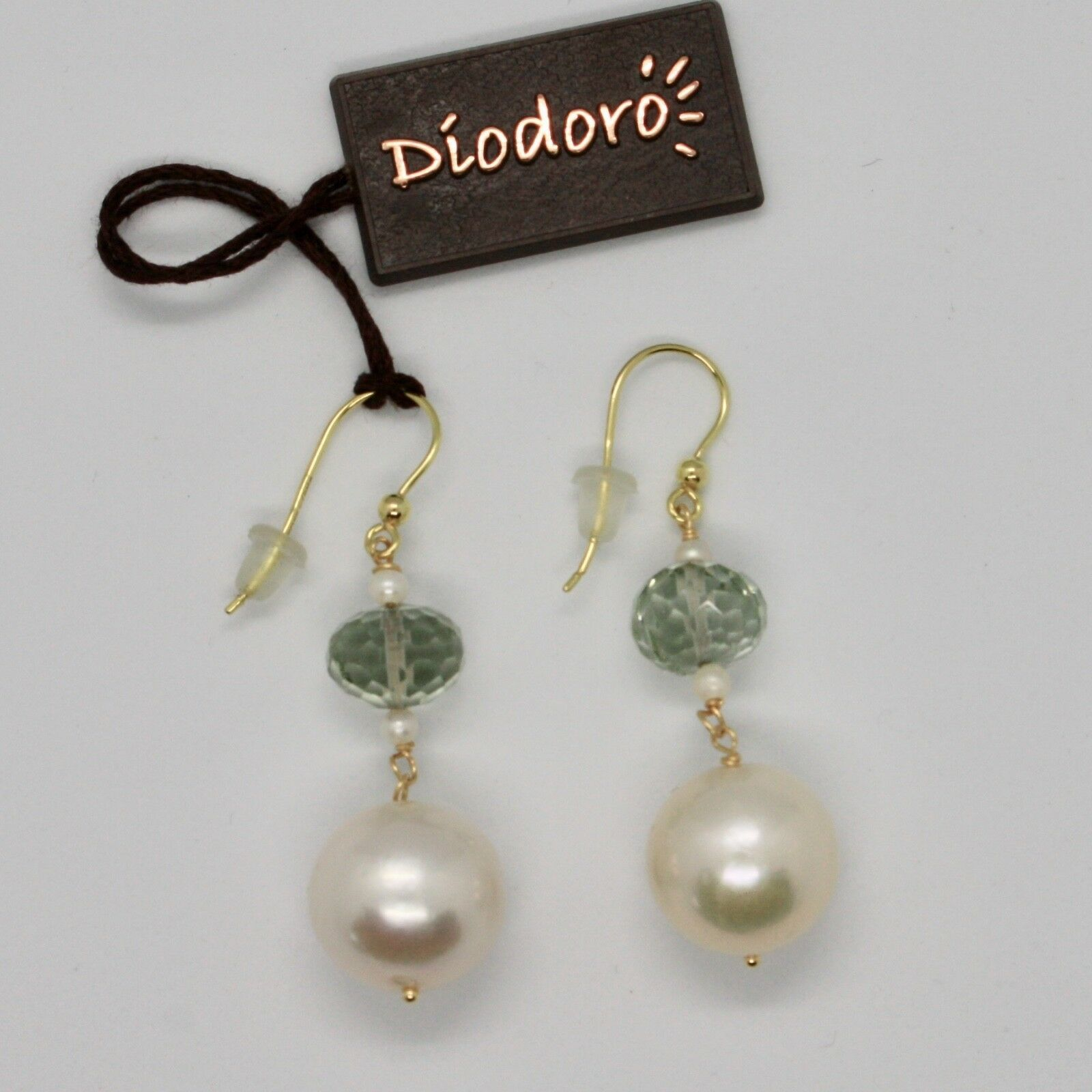 Yellow Gold Earrings 18k 750 pearls freshwater and Prasiolite Made in Italy