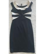 Maggy London Black White Stretch Knit Sheath Dress Size 6 - $19.77