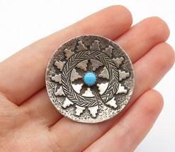 ARNOLD MALONEY NAVAJO 925 Silver - Vintage Turquoise Pattern Brooch Pin ... - $67.05