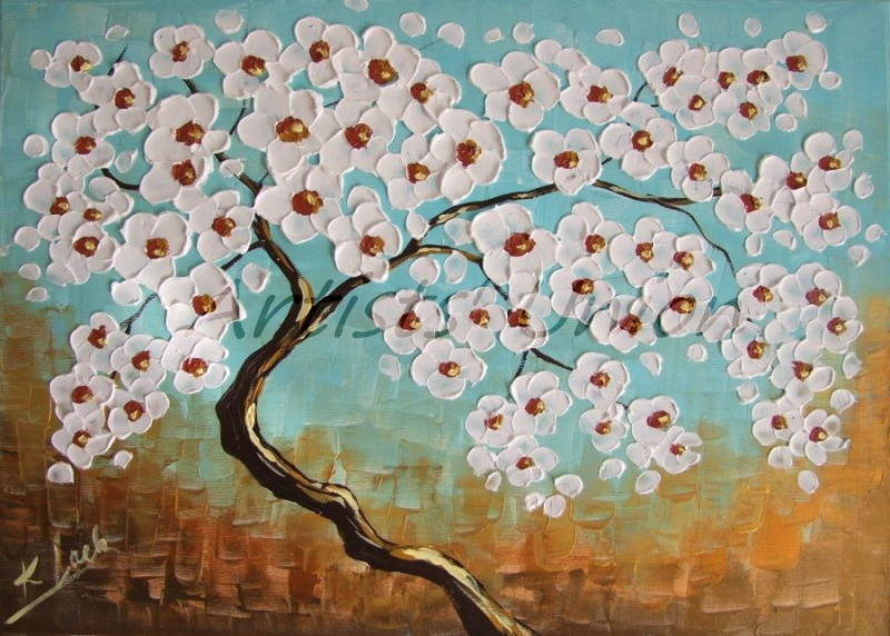 Primary image for Abstract Tree Original Oil Painting Impasto White Cherry Flowers Modern Fine Art