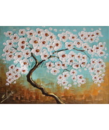 Abstract Tree Original Oil Painting Impasto White Cherry Flowers Modern Fine Art - $240.00