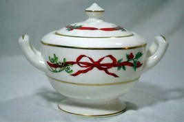 Royal Worcester 1987 Holly Ribbons Sugar Bowl With Lid #A10 - $101.17