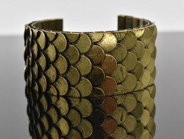 Vintage Layered Scales Mermaid Fish Open Cuff Bracelet Goldtoned Wide Thick - $67.46