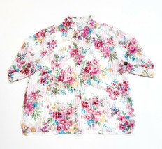 BonWorth Sheer Button Down Shirt Ivory Pink Floral 3/4 Sleeve Size Petit... - $17.81