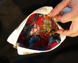 Clutch Bag/Wristlet/Makeup Bag - Single Blue Rose Applique on Ivory Brocade image 5