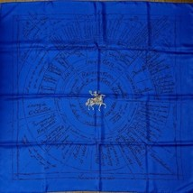 Hermes Scarf Stole Naissance d'une idee Blue Silk 100% Carre 90 Auth Min... - $426.05
