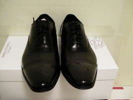 Mens Versace shoes collection dressing leather black size 44 euro new with box - $232.60