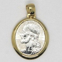 18K YELLOW & WHITE GOLD PENDANT OVAL MEDAL JESUS FACE ENGRAVABLE MADE IN ITALY image 1