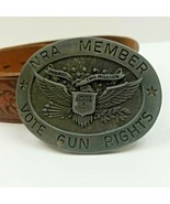 Belt Buckle NRA MEMBER Vote Gun Rights LIMITED EDITION Silver Tone w belt - $34.00