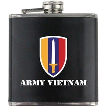US Army Vietnam Veteran Full Color Groomsman Gift Leather Wrap Flask - $19.79