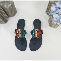 Tory Burch Miller Navy Rainbow Patent Leather Flats Sandals Sz 7.5 NIB - $192.56