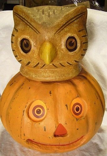 Bethany Lowe Halloween Owl in Pumpkin Container  Reproduction Light included!