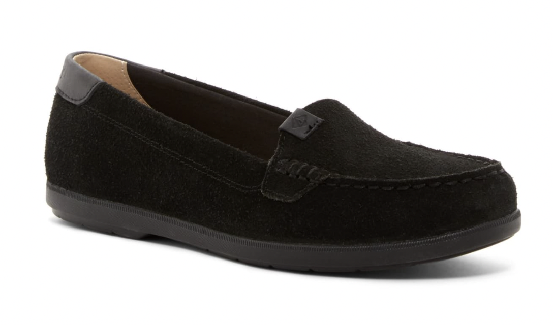 Sperry Womens Coil Mia Suede Black Slip-On Flat Boat Loafers Shoes 10W STS99652