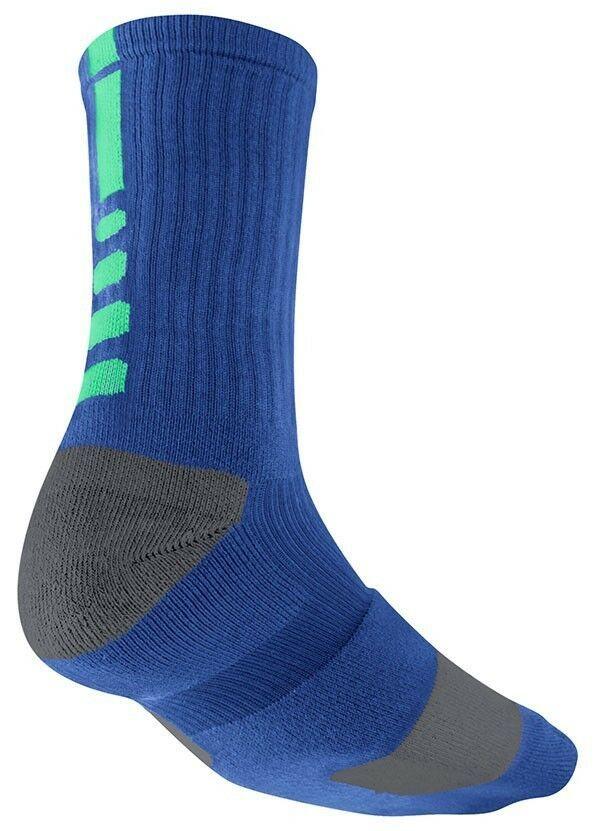 New Nike Dri-Fit CREW ELITE Basketball Socks Game Royal / Grey SX3693-430 8-12 L