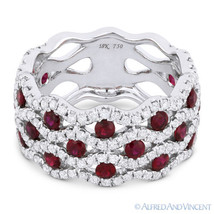 2.45 ct Round Cut Red Ruby & Diamond Pave 18k White Gold Right-Hand Fashion Ring - $3,088.79