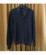Loro Piana Sweater 100% Cashmere Navy Cardigan Thick Knit 50 - $485.05