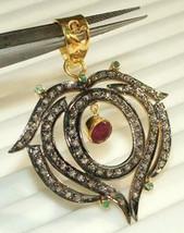 Victorian/Vintage Repro. Rose Cut Diamond 92.5% Silver Ruby Pendant @CSJ... - $284.93