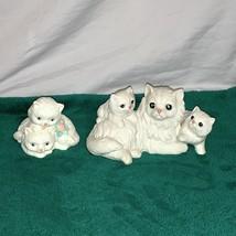Vtg Homco White Persian Mother Cat w Kittens and Unbranded Kittens Figurine - $17.81