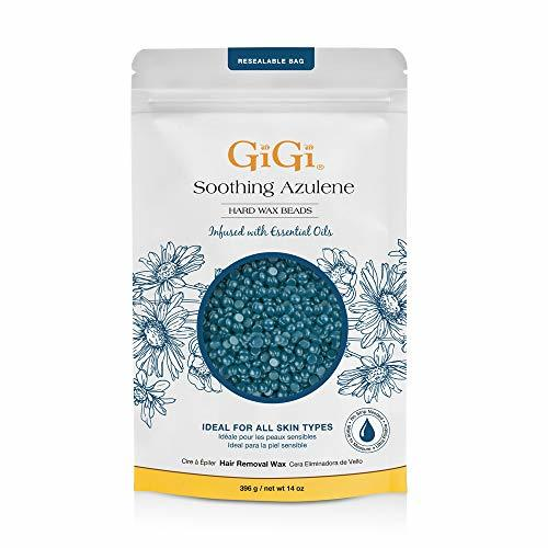 GiGi Hard Wax Beads, Soothing Azulene Hair Removal Wax for Sensitive Skin, 14 oz
