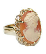 14k Yellow Gold Ladies Carved Shell Maiden Bust Cameo Ring-Size 10.5 - $550.00