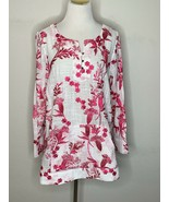Soft Surroundings Womens Tunic Floral Embroidered Boho White Red Sz M NWT - $49.95