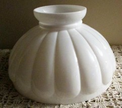 """Antique 10"""" Student Lamp Shade Melon Style Opal White Glass for B&H Alad... - $48.37"""