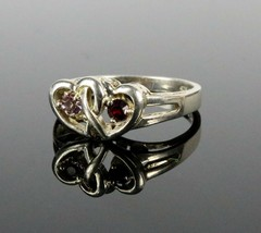 Vintage .925 Sterling Silver Signed OG Double Heart Stone Size 7.75 Ring... - $20.35
