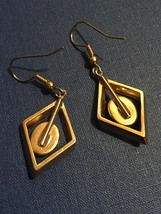 Vintage 70s Gold Diamond-shape Dangle Montana Agate Earrings image 5