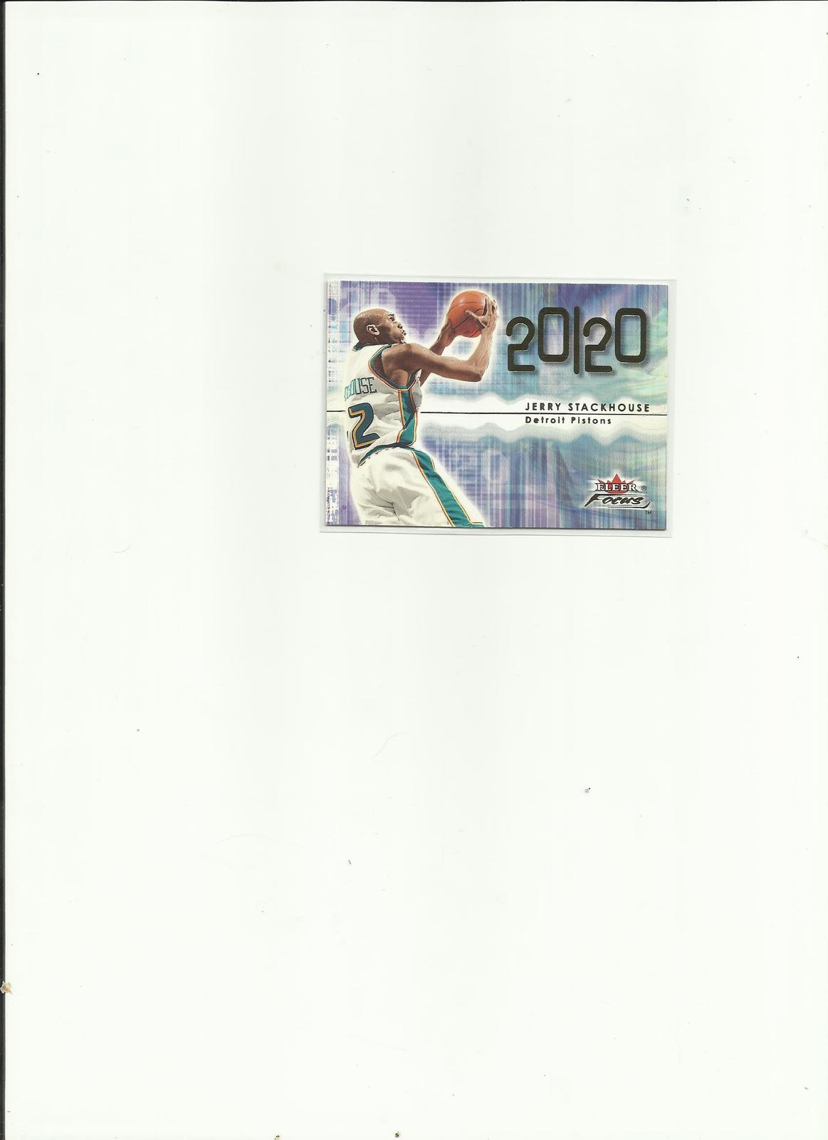 "2000-01 Jerry Stackhouse #224 Fleer ""Focus 20/20"" Detroit Pistons Basketball Car"