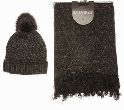 Ellen Tracy Women's Metallic Knit Fringed Scarf & Pom Pom Gift Box Black - $15.79
