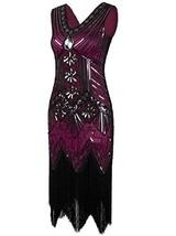 Vijiv Women 1920s Gastby Sequin Art Nouveau Embellished Fringed Flapper ... - $38.74