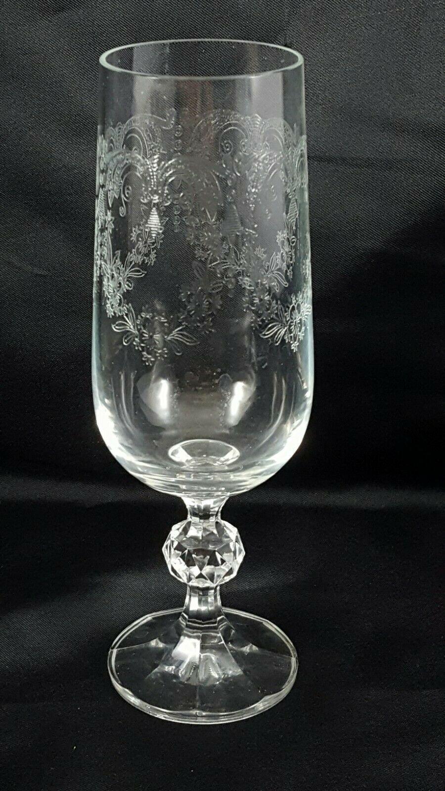 Crystalex Import Assoc Cascade Champagne Flutes Set of 2 Czech Crystal 6 oz image 2