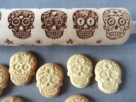 MEXICAN SKULLS engraved rolling pin and cookie cutter - $29.99