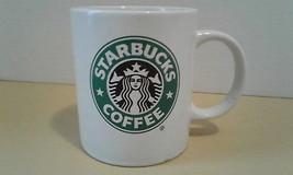 2008 Starbucks 11.5floz straight side white mug with green and black log... - $19.75