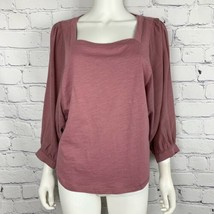 Anthropologie Akemi Kin Women's Blouse Medium Pink Boho Puff 3/4 Dolman ... - $28.99